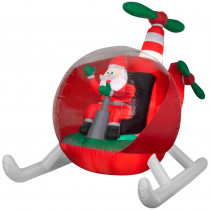 Airblown 8.50 ft. W Pre-Lit inflatable Animated Vintage Helicopter Santa Airblown Scene