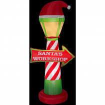 Airblown 3.5 ft. W x 7 ft. H Inflatable Santa's Workshop Lamp Post and Sign