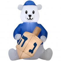 Airblown 2.99 ft. pre-liter Inflatable Outdoor Hanukkah Dreidel Bear