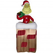 Airblown 6 ft. Pre-lit Inflatable Animated Grinch Popping Out of Chimney Airblown