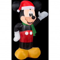 Airblown 2 ft. W x 3.5 ft. H Inflatable Disney Mickey with Santa Hat