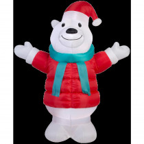 Airblown 6 ft. W x 7 ft. H Inflatable Puffy Parka Polar Bear