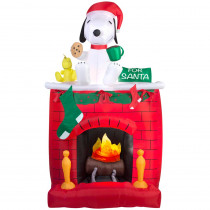 Airblown 49.21 in. W x 25.59 in. D x 83.86 in. H Inflatable Fire and Ice Snoopy on Fireplace Scene