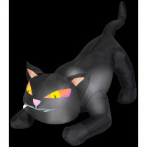 Airblown 4 ft. W x 3 ft. H Inflatable Black Cat with Tail Up