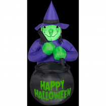 Airblown 3 ft. W x 4 ft. H Inflatable Witch with Caldron Happy Halloween