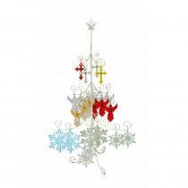 Alpine 46 in. Indoor Pre-Lit Christmas Tree Hanging Decoration Metal Stand