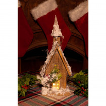 Alpine 14 in. Christmas Wooden House with 10-LED Lights
