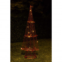 Alpine 23 in. H Rattan Light-up Christmas Tree Decor