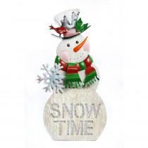 Alpine It's Snow Time Metal Snowman Porch with 104 LEDs