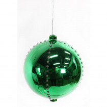 Alpine 7 in. Green Xmas Ball Ornament with 76-Chasing LED Lights