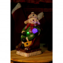 Alpine 19 in. Snowman on Sleigh w/3 Color Changing LED Lights