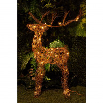 Alpine 34 in. Rattan Reindeer with 50-Halogen Lights (Plug-In)