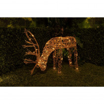 Alpine 25 in.  Grazing Rattan Reindeer with 50-Halogen Lights (Plug-In)
