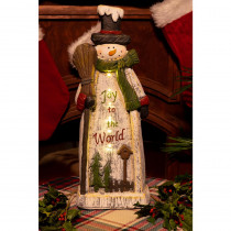Alpine Christmas Snowman Lantern Statue Decor- TM
