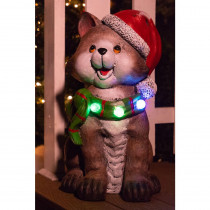 Alpine 21 in. Cat wearing Santa Hat and Green Scarf Decor with 3 LED Lights