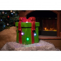 Alpine Green Giftbox Statue with Color Changing LED Lights-TM