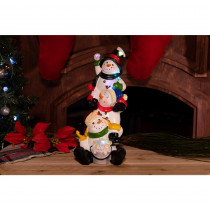 Alpine 13 in. 3 Snowmen Statuary with Color Changing LED Lights