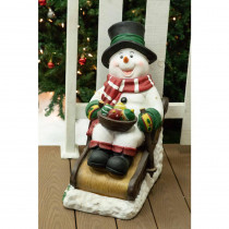 Alpine Solar Snowman in Sleigh with 12 LED Lights- TM
