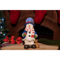 Alpine Christmas Snowman Statue with Led Lights - Tm