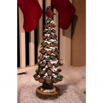 Alpine 19 in. Christmas Tree with Red Bird Statue Light Decor - TM