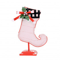 Alpine Corporation 11 in. Tall Christmas Stocking Table Decor with White LED Light