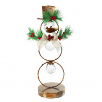 Alpine Corporation 20 in. Tall Christmas Snowman Metal Tabletop Decor with Timer