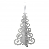 Amscan 10.25 in. x 6.5 in. Christmas Silver Tree MDF Glitter Centerpiece (4-Pack)