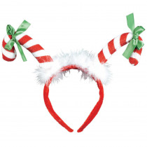 Amscan 13 in. x 10 in. Candy Cane Christmas Headband (3-Pack)