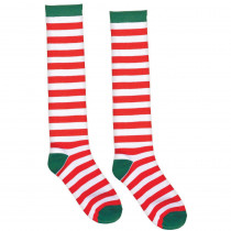 Amscan 23.75 in. Candy Cane Striped Christmas Red and White Knee Socks (2-Count, 2-Pack)