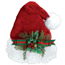 Amscan 15 in. x 11 in. Santa Christmas Deluxe Hat with Holly Bow (2-Pack)