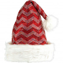 Amscan 15 in. x 11 in. Sequin Chevron Santa Christmas Hat (2-Pack)
