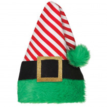 Amscan 15 in. x 11 in. Elf Striped Christmas Hat (2-Pack)