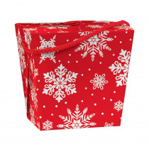 Amscan 4.25 in. x 4.5 in. x 3.5 in. Red and White Christmas Snowflake Paper Quart Pail (10-Pack)