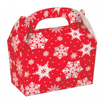 Amscan 6.25 in. x 6 in. x 3.75 in. Christmas Snowflake Paper Gable Box (5-Count 3-Pack)