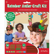 Amscan Reindeer Antler Christmas Craft Kit (4-Count 5-Pack)