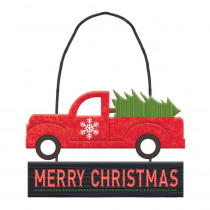 Amscan 4.75 in. x 6.5 in. Christmas Truck MDF Glitter Sign (6-Pack)