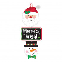 Amscan 20 in. x 7.75 in. Christmas Merry and Bright MDF Stacked Sign (3-Pack)