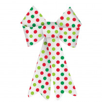 Amscan 13.75 in. x 10 in. Christmas Green and Red Polka Dot Plastic Glitter Bow (4-Pack)