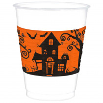 Amscan 4.5 in. x 3.75 in. White Halloween Frightfully Fancy Cups (25-Count, 2-Pack)