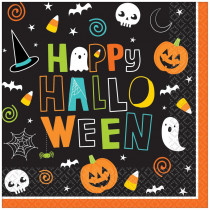 Amscan 5 in. x 5 in. Paper Halloween Friends Beverage Napkins