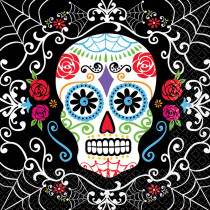 Amscan 6.5 in. x 6.5 in. Day of the Dead Luncheon Napkins (36-Count, 3-Pack)