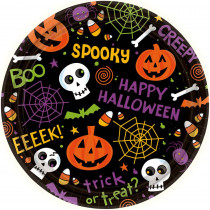 Amscan 7 in. x 7 in. Spooktacular Round Paper Plate (60-Count)
