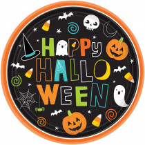 Amscan 10 in. x 10 in. Paper Halloween Friends Round Plates