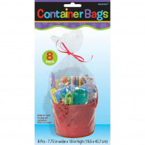 Amscan 7.75 in. x 18 in. Clear Plastic Container Bags (8-Count, 6-Pack)