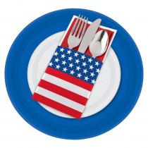 Amscan 7.50 in. x 3.75 in. Patriotic Cutlery Holders (12-Count, 5-Pack)
