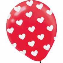 Amscan 12 in. Valentine's Day Red Latex Heart All-Over Printed Balloons (6-Count, 5-Pack)