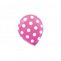 Amscan 12 in. Bright Pink Polka Dots Latex Balloons (6-Count, 9-Pack)