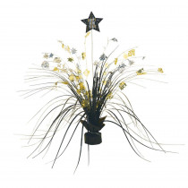 Amscan 3.5 in. New Year's Foil Spray Centerpiece in Black, Silver and Gold