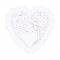 Amscan 3.5 in. Valentine's Day White Paper Heart Shaped Doilies (28-Count, 8-Pack)