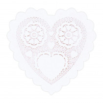Amscan 6 in. Valentine's Day White Paper Heart Shaped Doilies (20-Count, 8-Pack)